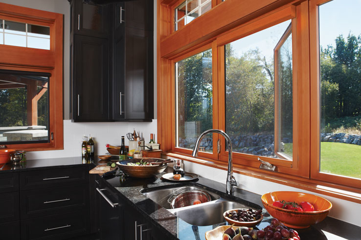 Prestige wood finished window screens in application.
