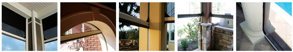 Executive motorized retractable screens are built and customized for each building project, so they will merge perfectly with your décor to maintain the integrity of your design. Our motorized retractable screens can be recessed from view by integrating with the building structure or surface-mounted onto existing structures.