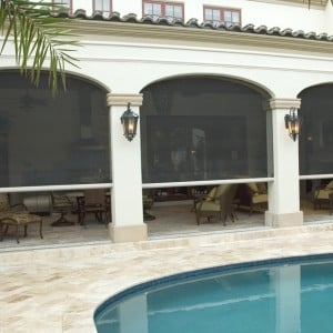 Executive motorized screens recessed into archways