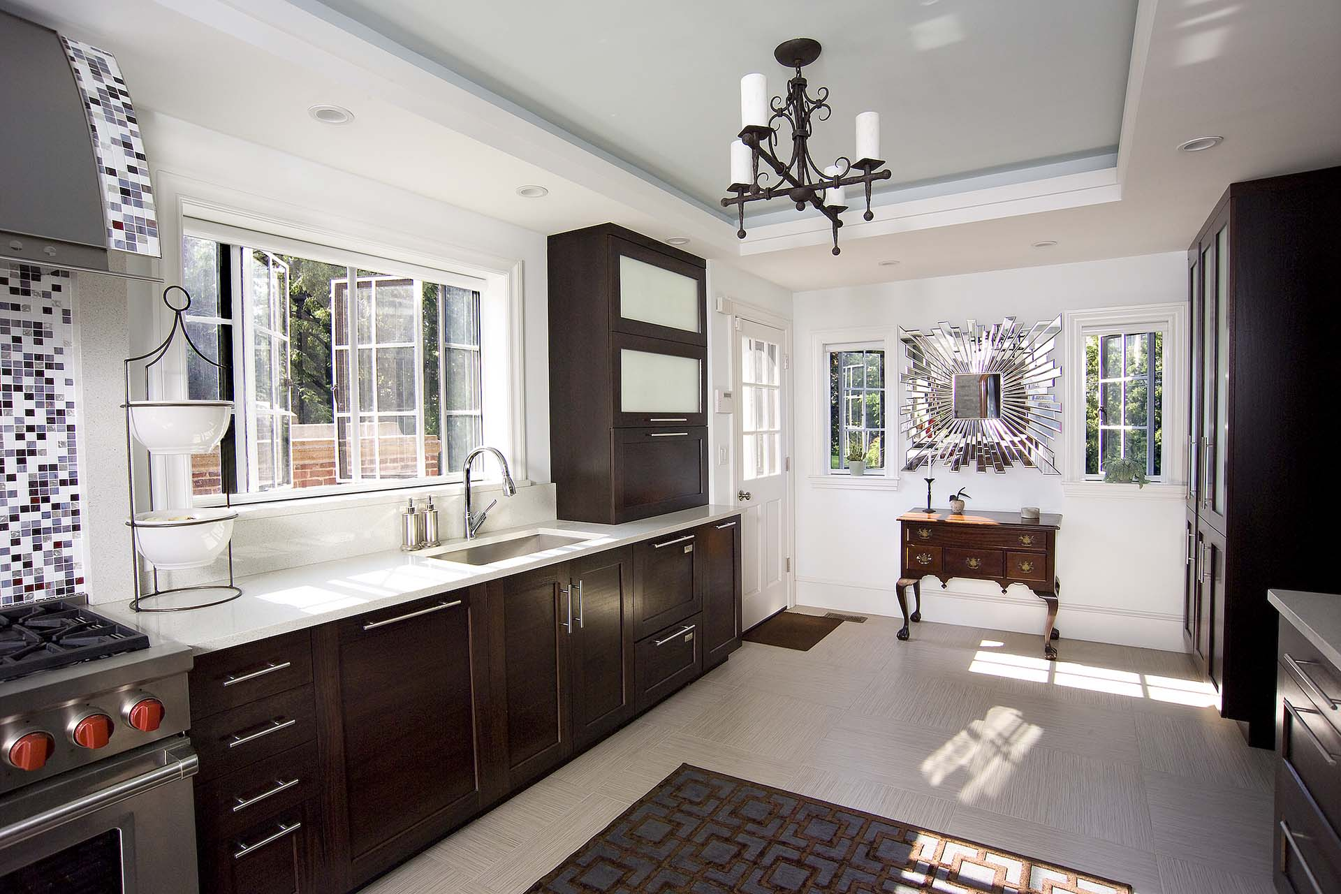 Phantom window screens are perfect in this open, airy kitchen