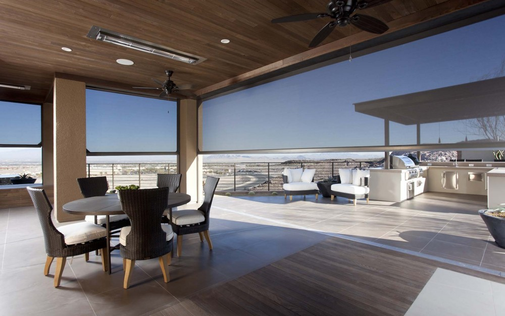 The New American Home 2014 - motorized screens for large openings