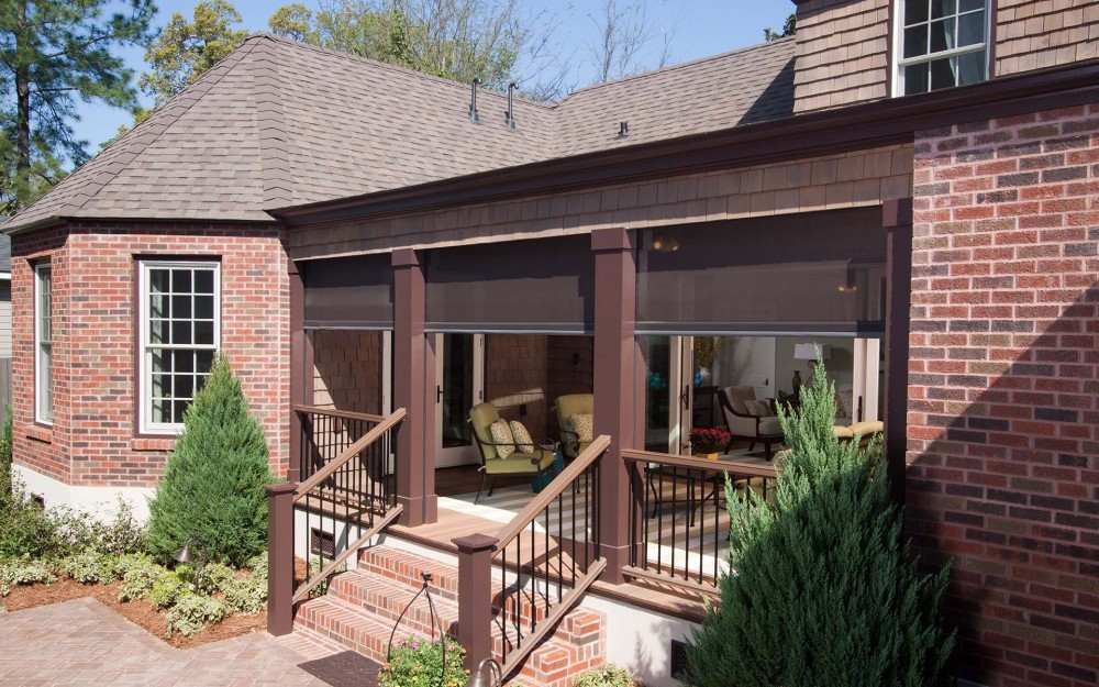 Screened in porch with Phantom's motorized screens for large openings