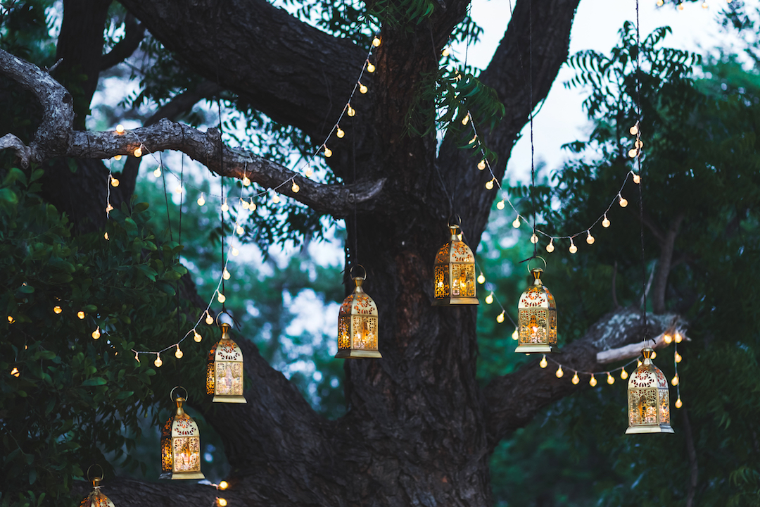 Lanterns at al fresco dinner party al fresco