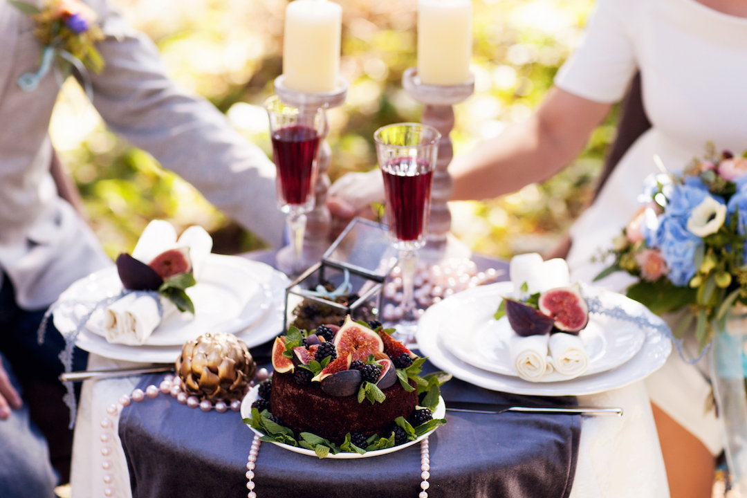 wine and food at al fresco dinner party al fresco